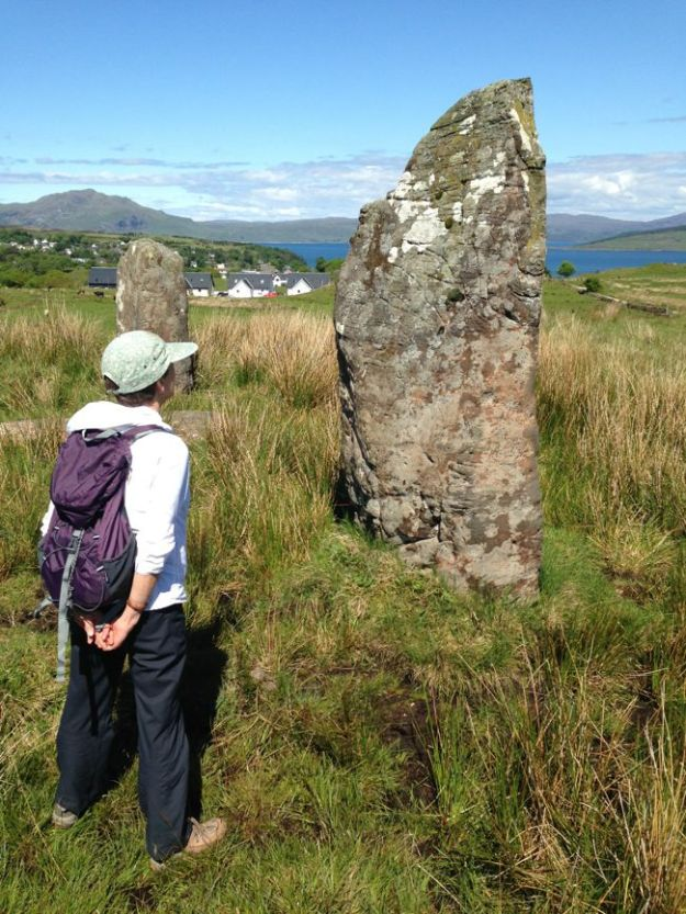 The approximately 4000 year old standing stones. When all three were standing, the line they formed pointed to a dip in the mountains and aligned closely with due north.
